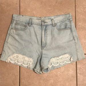 AEO High Waist Jean Shorts Crochet 14